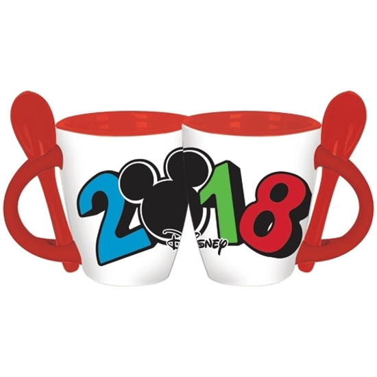 Picture of Disney 2018 Simply Dated Mickey Mouse Head Espresso Spoon Mug with Spoon