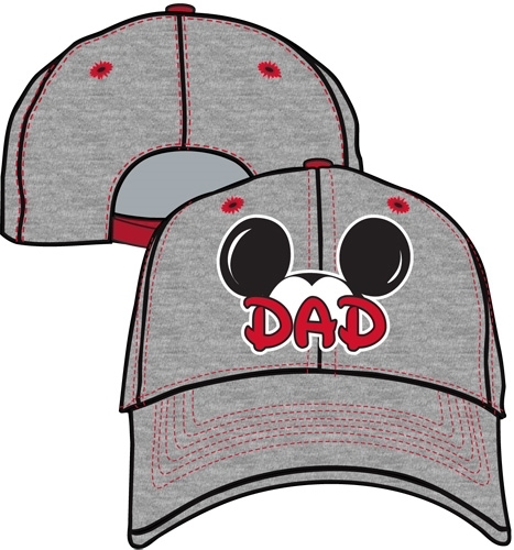 0a646ff75088fa Picture of Disney Mens Cotton Mickey Mouse Dad Fan Baseball Cap, Grey