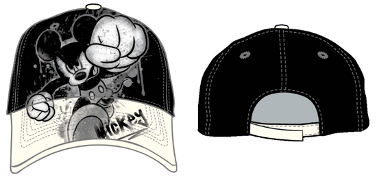 Picture of Disney Adult Baseball Hat Mickey Mouse Smash Black White