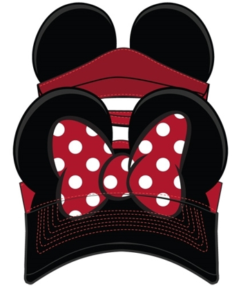 Picture of Disney Adult Hat Visor Minnie Bow Red Black