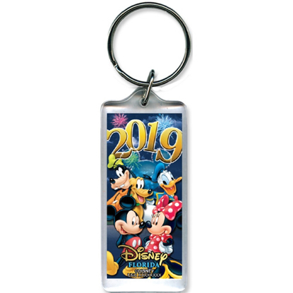 Picture of 2019 Dated Party Pals Mickey Minnie Goofy Donald Pluto Lucite Keychain, Multi (Florida Name drop)