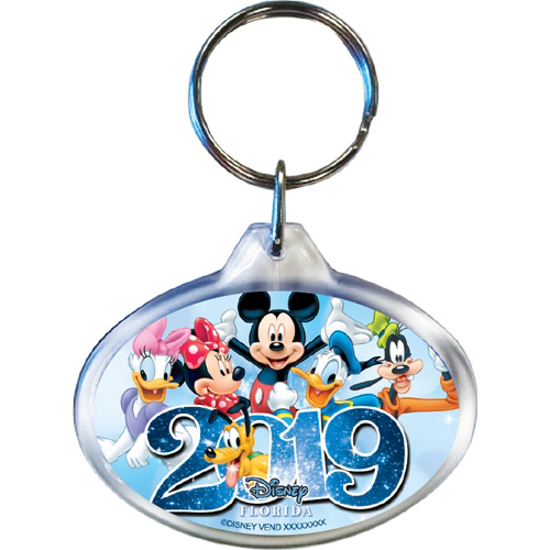 Picture of 2019 Dated Sixers Group Mickey Minnie Daisy Goofy Donald Pluto Oval Keychain, Multi (Florida Namedrop)