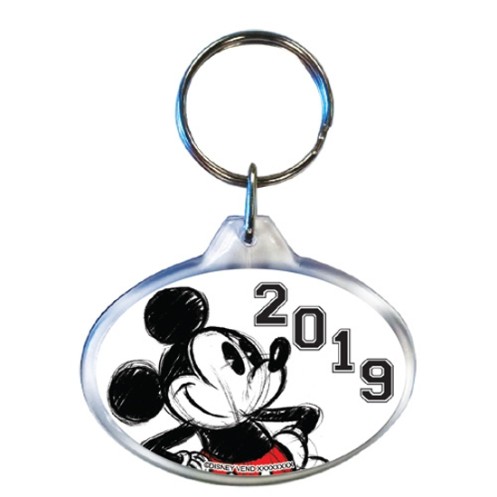 Picture of 2019 Dated Original Big Mickey Oval Keychain, White Black (No Namedrop)