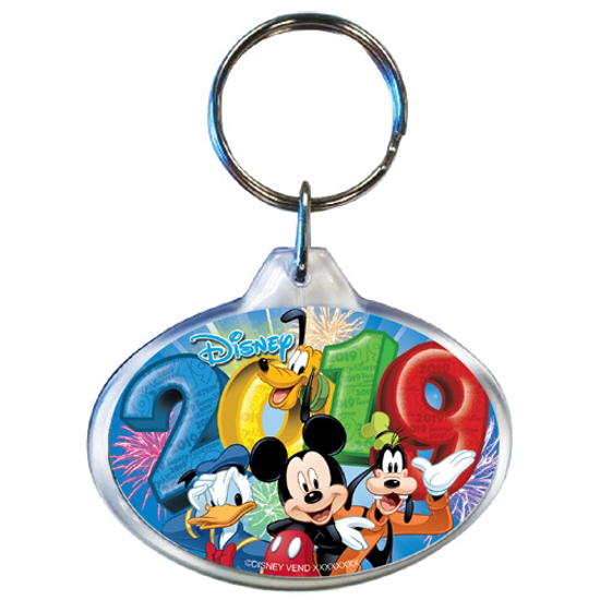 Picture of 2019 Dated Fireworks Fiesta Mickey Goofy Donald Pluto Oval Keychain, Multi (No Namedrop)