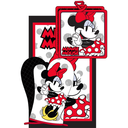 Picture of Disney 3pc Kitchen Towel Set Cute Chef Minnie Red