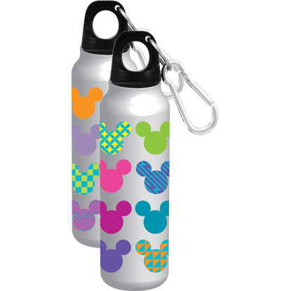 Picture of Disney Mickey Mouse Icon Heads Pop Colors Aluminum Water Bottle Wide Mouth Silver