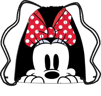 Picture of Disney Drawstring Tote Minnie Peeking Black Red bag