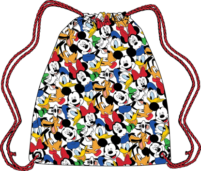Picture of Disney Drawstring Tote Fab 5 Mickey Pluto Donald Goofy Minnie White bag