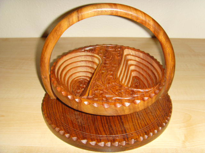 "Picture of Angel Handcraft Rose Wood Collapsible candy basket 8"" 2 compartments basket"
