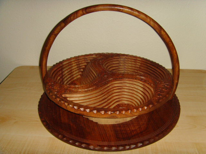 "Picture of Angel Handcraft Rose Wood Collapsible fruit Baskets 16"" 3 compartment"