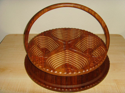 "Picture of Angel Handcraft Rose Wood Collapsible fruit  Baskets   16"" 4 compartment"