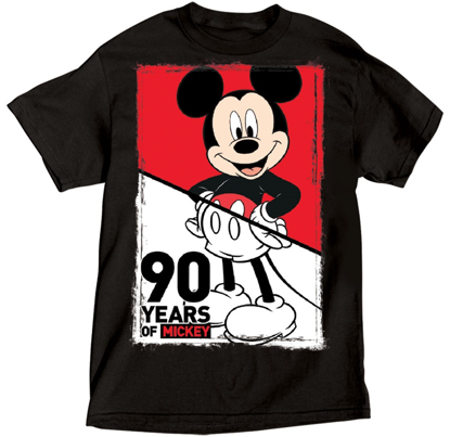 Picture of Disney Adult Mens  Mickey 90th Anniversary Black T-Shirt