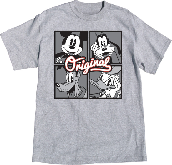 Picture of Disney Adult Unisex Shirt Original Crew Mickey Goofy Donald Pluto Gray T-Shirt
