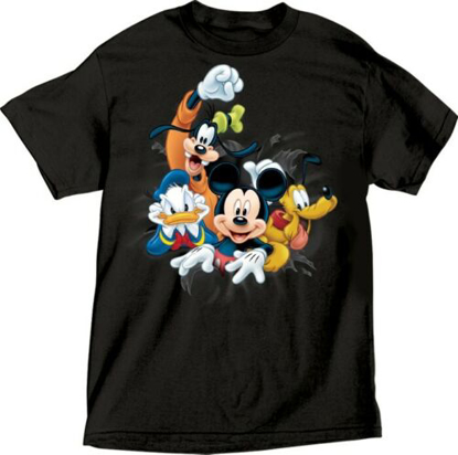 Picture of Disney Adult Unisex T-Shirt Fab 4 Bursting Goofy Donald Mickey Pluto Tee Black