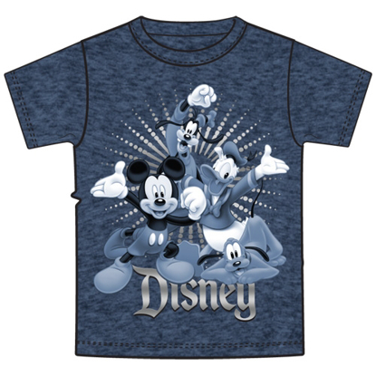 Picture of Disney Adult Unisex T-Shirt Fab 4 Hooray Mickey Goofy Donald Pluto Navy Heather