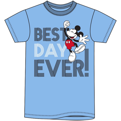 Picture of DISNEY Adult Unisex Tee Best Day Ever Mickey Mouse Light Blue