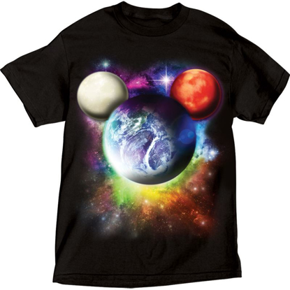 Picture of Disney Adult T-Shirt Planet Mickey Mouse Rich Black