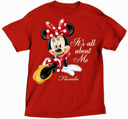 Picture of Disney Womens T Shirt All About Me Minnie Red Florida Namedrop