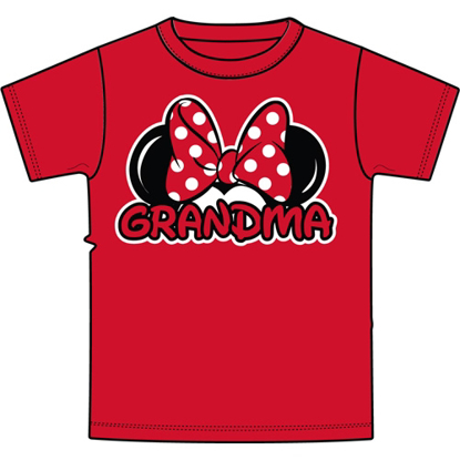 Picture of Disney Adult Grandma Basic Crew Neck Tee Red T-Shirt