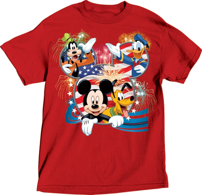 Picture of Disney Adult Tee Shirt Disney USA Mickey Group Red T-Shirt
