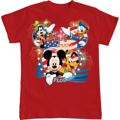 Picture of Youth Boys T Shirt Disney USA Mickey Pluto Goofy Donald Red Florida Namedrop