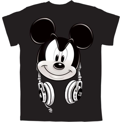Picture of Disney Youth Boys T-Shirt Mickey Headphones Headphones Black