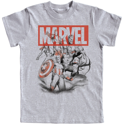 Picture of Disney Youth Boys T-Shirt Avengers Assembled Captain America Thor Hulk Gray Namedrop Required