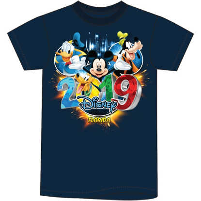 Picture of Disney Youth Unisex T Shirt 2019 Pop Out Mickey Goofy Donald Pluto Navy Florida Namedrop
