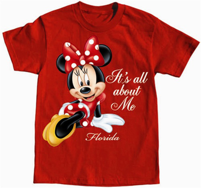 Picture of DISNEY Girls T-Shirt All About Me Minnie Red Florida Namedrop