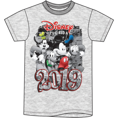 Picture of Disney Plus Size Unisex T Shirt 2019 Four Fun Mickey Goofy Donald Pluto Gray Florida Namedrop