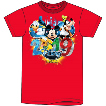 Picture of Disney Plus Size Unisex T Shirt 2019 Pop Out Mickey Goofy Donald Pluto Red Florida Namedrop