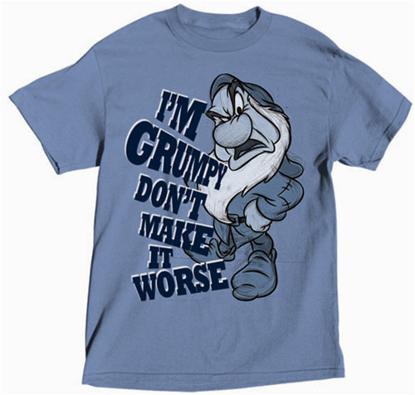 Picture of DISNEY Plus Size Mens T Shirt I'm Grumpy Denim Blue