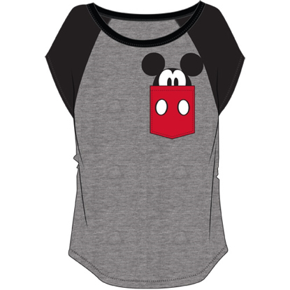 Picture of Plus Size Fashion Contrast Shoulder Top Mickey Pocket Gray with Black