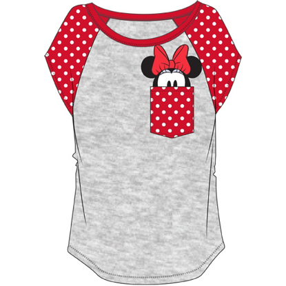 Picture of Plus Size Fashion Contrast Shoulder Top Minnie Pocket Gray with Red