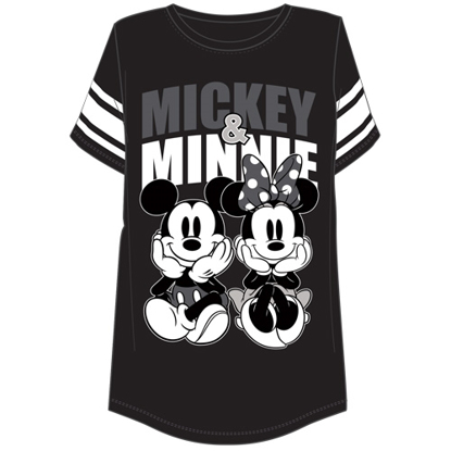Picture of Disney Plus Size Football t shirt Mickey and Minnie Sitting Black