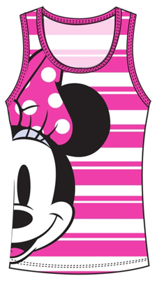 Picture of Disney Adult Tank Minnie Half Face White Pink