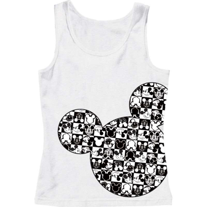 Picture of Disney Adult Womens Tank Checkers Mickey Head White