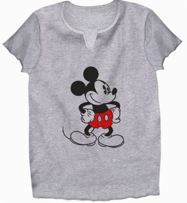 Picture of Disney Womens V Neck T Shirt Old School Mickey Gray Heather