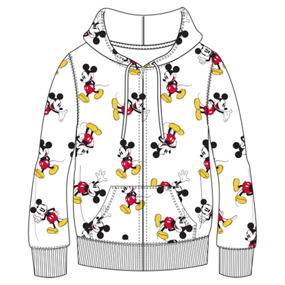 Picture of Disney Adult Mickey All Over Print Zip Up Hoodie White