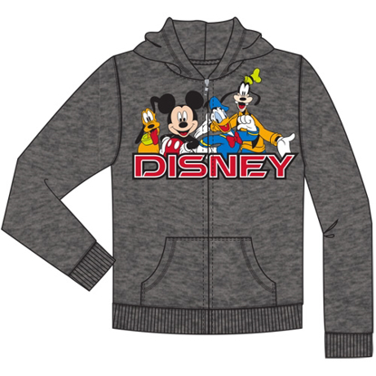 Picture of Disney Youth Disney Friends Mickey Goofy Pluto Donald Zip Up Hoodie Charcoal Gray