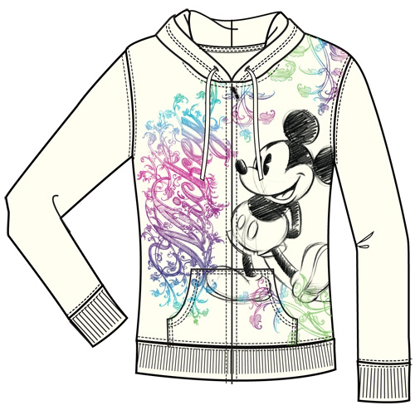 Picture of Disney Adult Junior Ornate Mickey Mouse Zip Up Hoodie Off White