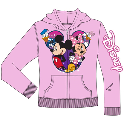 Picture of Disney Youth Group Cast Mickey Minnie Donald Daisy Zip Up Hoodie Light Pink