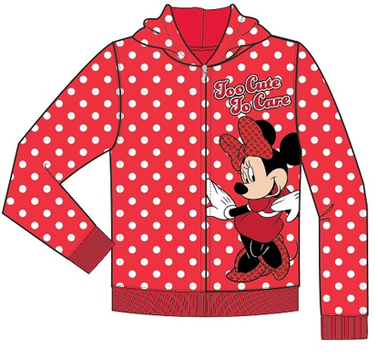 Picture of Disney Toddler Too Cute to Care Minnie Zip Up Hoodie Red White Polka Dots