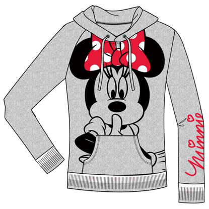 Picture of dISNEY Adult Junior Silent Minnie Pullover Hoodie Gray