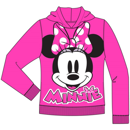Picture of Disney Youth Minnie Pied Big Face Pullover Hoodie Fuchsia