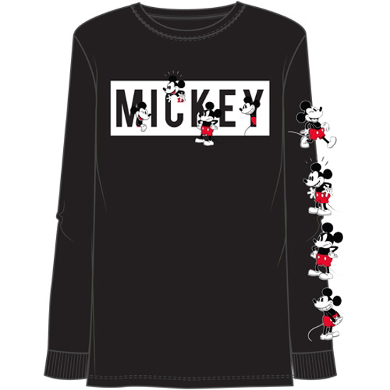Picture of Disney Adult Unisex Many Mickey Block Long Sleeve Top with Sleeve print Black