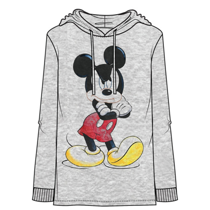 Picture of Disney Adult Men's Whatever Mickey Lightweight Hoodie Gray Heather