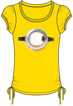Picture of Disney Youth Girls Fashion Side Tie Minions One Eyed Right Top Yellow