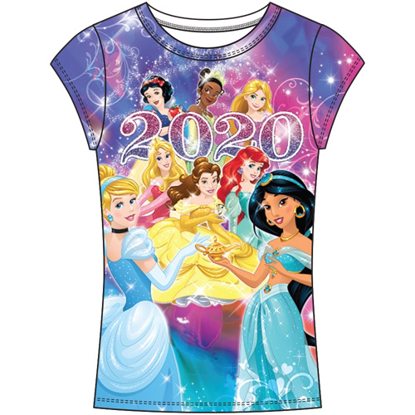 Picture of Disney Youth Girls 2020 Princess Belle Sleeping Beauty Jasmine Ariel Snow White Tiana Fashion Top Multicolored