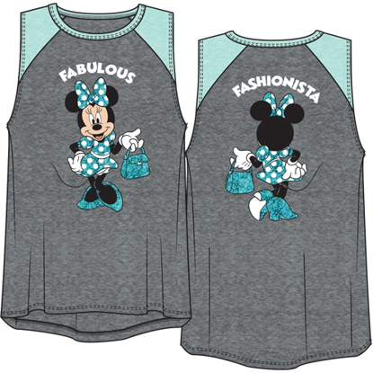 Picture of Disney Youth Girls Raglan Front Back Tank Top Minnie Mouse Fashionista Gray & Fresh Mint